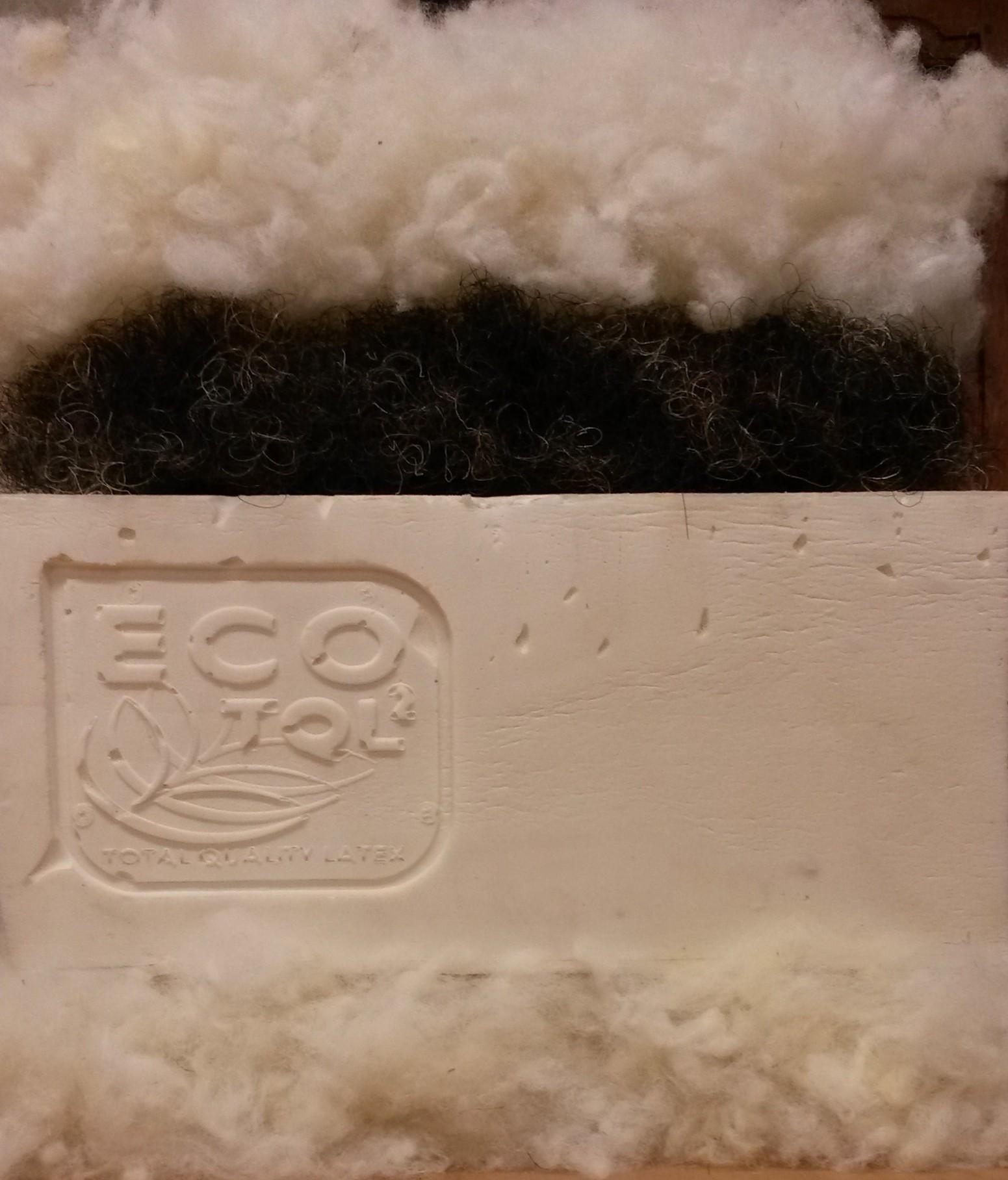 Matelas latex bio Multizone Densité médium 16 cm Garnissage laine et crin