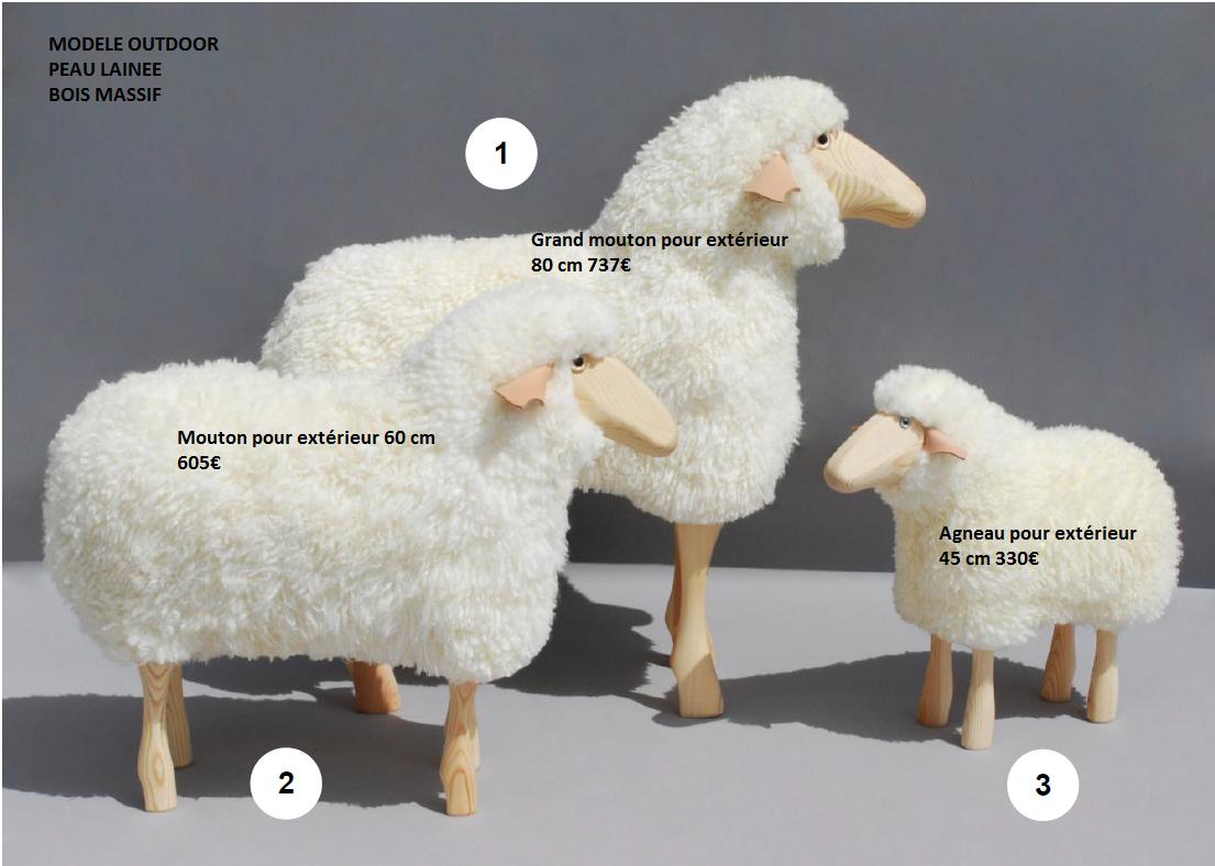 moutons de d coration sculpt s bois massif et peau lain e